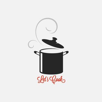 Saucepan logo. Lets cook vintage lettering white