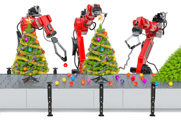 Robotic arms decorate the Christmas Tree. 3D rendering