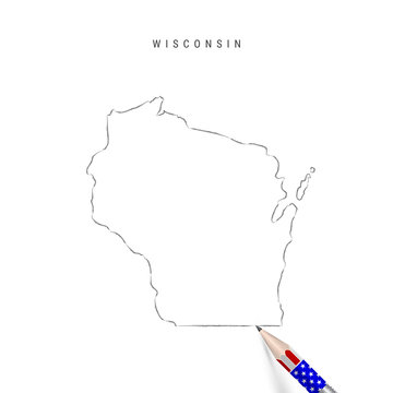 Wisconsin US state vector map pencil sketch. Wisconsin outline map with pencil in american flag colors
