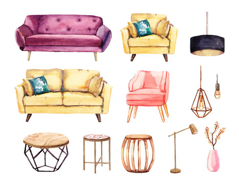 Watercolor hand painted interior furniture sofas and wooden tables, decorations, lamps illustration set on white background