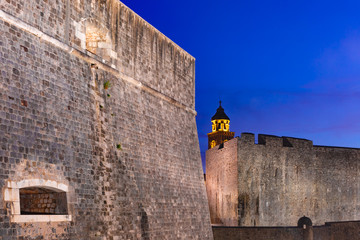 Old city walls in Old Town of Dubrovnik at night in Dubrovnik, Croatia
