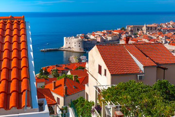 Aerial view of The Old Town of Dubrovnik, Croatia