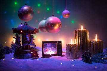 Creative artwork decoration. Christmas decoration with burning candles on a dark background....