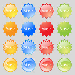 music sign icon. Karaoke symbol. Big set of 16 colorful modern buttons for your design.