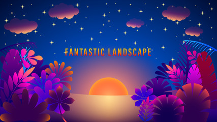 Canvas Prints Violet Fantastic landscape. sunset, dawn in the night starry sky. Fabulous colorful plants. Gradient purple and pink colors on picture. Flat style vector illustration.