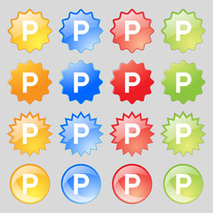 parking icon sign. Big set of 16 colorful modern buttons for your design.