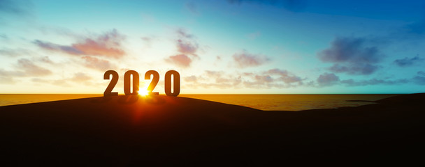 silhouette of the new year 2020 in sunset