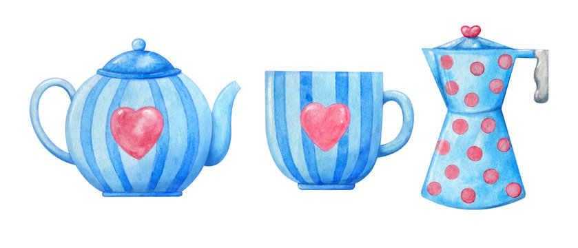 Decorative watercolor porcelain in blue with pink hearts. Tea cup, kettle, coffee mug with pattern