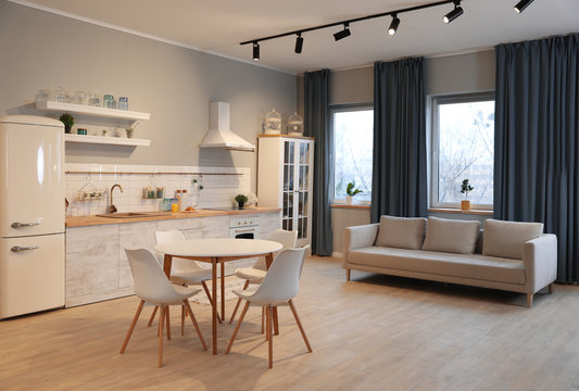Modern kitchen interior with new stylish furniture