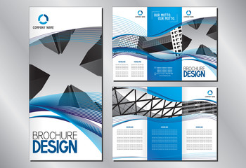 Business trifold brochure template (A4 to 3xDL format - 297x210mm) - modern office buildings/ skyscrapers, blue graphics