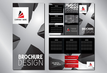 Business trifold brochure template (A4 to 3xDL format - 297x210mm) - modern office buildings/ skyscrapers, black and red graphics