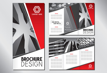 Business trifold brochure template (A4 to 3xDL format - 297x210mm) - modern office buildings/ skyscrapers, red graphics