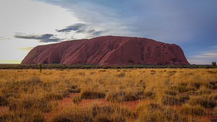 Lovely Uluru view from car sunset parking lot, Uluru-Kata Tjuta National Park, Northern Territory, Australia