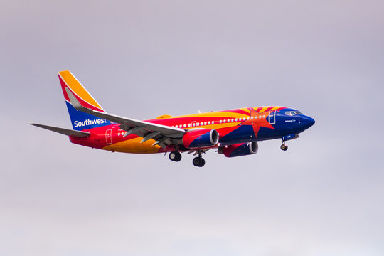 Dec 6, 2019 San Jose / CA / USA - Arizona One Southwest Airlines aircraft approaching San Jose International Airport (SJC); the Arizona One is honoring and was modeled after the Arizona state flag