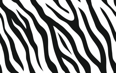 Foto op Canvas Kunstmatig Zebra stripes seamless pattern. Tiger stripes skin print design. Wild animal hide artwork background. Black and white vector illustration.