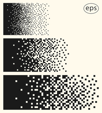 Set illustrations of decaying, dissolving into many small squares, pixels. Vector templates isolated on light background.
