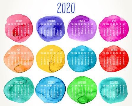 Year 2020 watercolor paint monthly calendar