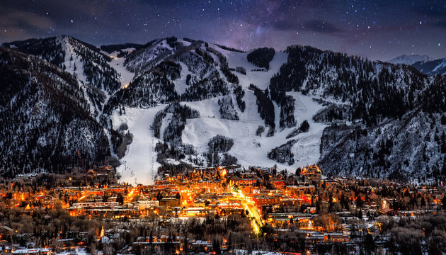 Aspen Colorado with stars in background