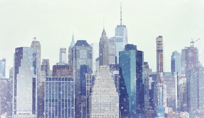 Toned photo New York City Manhattan downtown skyline at winter day during snowfall