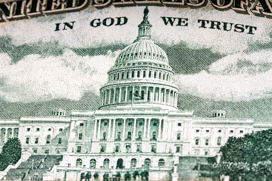 US Capitol on fifty dollar bill close up view
