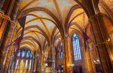 Printed kitchen splashbacks Budapest Budapest, Hungary - May 24, 2019 - The interior of the Church of the Assumption of the Buda Castle, more commonly known as the Matthias Church, located in Budapest, Hungary.