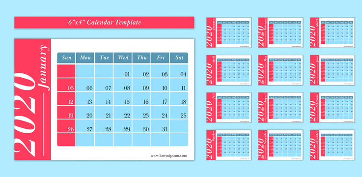 6 x 4 inch horizontal 2020 calendar new year vector template pastel cute fun blue and red color style