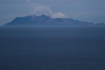 A general view of Whakaari as seen from Ohope beach in Whakatane