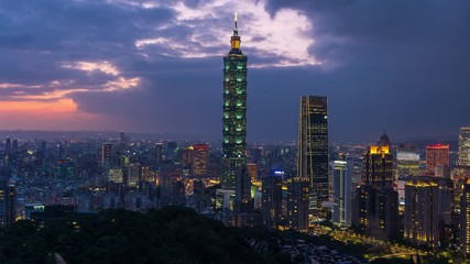 Fototapete - Taiwan skyline, Beautiful cityscape at sunset.