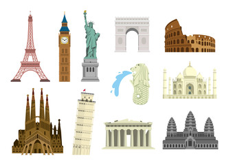 World famous buildings vector illustration set ( world heritage ) / Statue of liberty, Eiffel tower, Sagrada Familia etc. Fotomurales