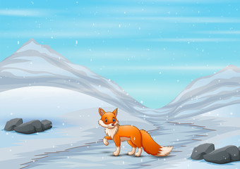 Fox cartoon in winter hunting a prey