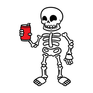 Cartoon Skeleton Holding a Can Illustration