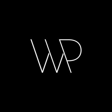 letter wp simple geometric line symbol logo vector
