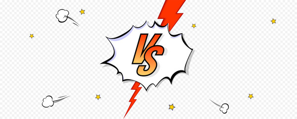 Elements of versus screen in comic book style. Pop art background of comparison with red lightning on transparent background. Vs battle challenge. Template for sports events. Vector illustration