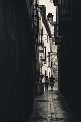 Tuinposter Smal steegje People walking through a narrow alley BW Granada Spain