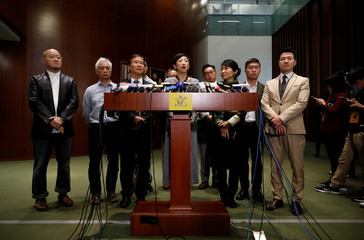 Pro-democracy lawmakers address the media at the Legislative Council in Hong Kong