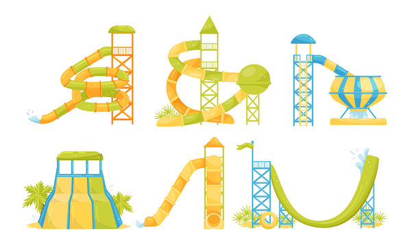 Water Park Attractions Collection, Aquapark Water Pool Slides, Pipes Vector Illustration