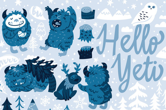 Hello Yeti. Bigfoot characters with deer, bird and polar owl in winter forest