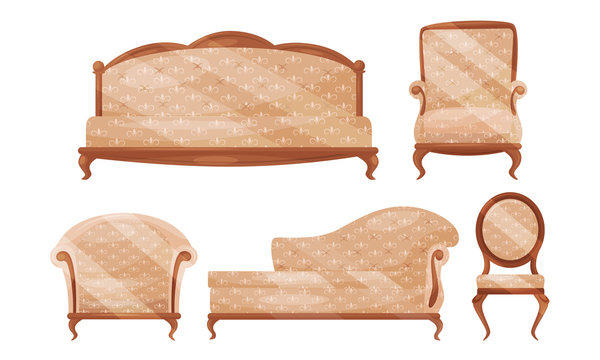 Antique Baroque Furniture Collection, Vintage Sofa, Armchair, Couch, Chair Vector Illustration