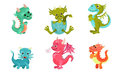 Little Baby Dragons Vector Set. Funny Fantasy Cartoon Characters