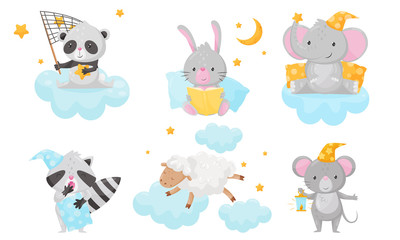 Cute Little Animals Preparing for Sleeping Under Starry Sky Resting on Clouds Vector Set
