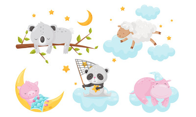 Cute Little Animals Sleeping Under Starry Sky Resting on Clouds Vector Set