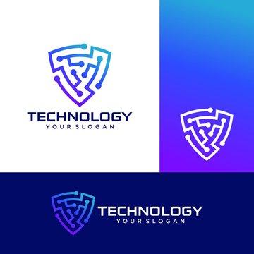 Shield Technology Logo Icon Stock Vector