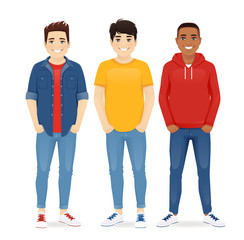 Multiethnic men friends. Three different male faces. Asian, african and caucasian standing isolated vector illustration