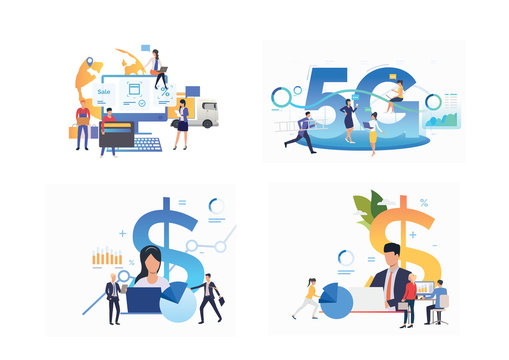 Set of people planning. Flat vector illustrations of businesspeople studying reports, analyzing business strategy. Business or finance concept for banner, website design or landing web page