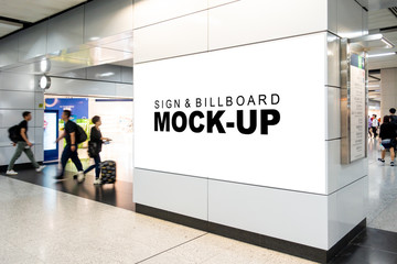Mock up large horizontal billboard at walkway in building