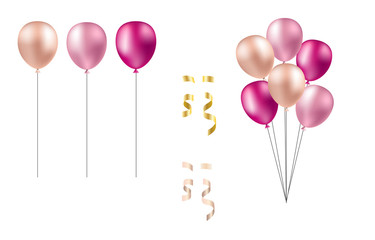 Bunch of balloons in realistic style vector isolated on white background. Isolated balloons [Converted]
