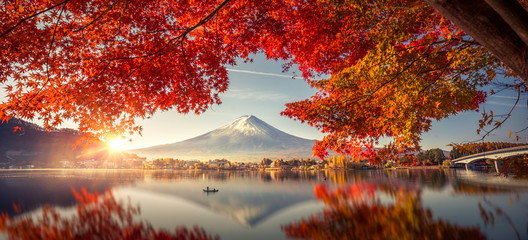 Foto op Plexiglas Cappuccino Colorful Autumn Season and Mountain Fuji with morning fog and red leaves at lake Kawaguchiko is one of the best places in Japan