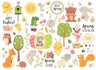 Spring and Easter collection of cute animals, flowers and decorations. Perfect for poster, card, scrapbooking , tag, invitation, sticker kit. Hand drawn vector illustration.