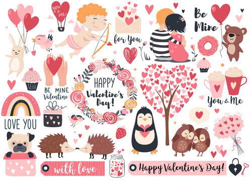 Valentine day set - cute cupid, rabbit, bear, hedgehog, wreath and hearts.  Perfect for scrapbooking, greeting card, party invitation, poster, tag, sticker kit. Vector illustration.