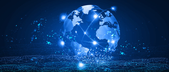 global connected technology earth illustration background Fotomurales